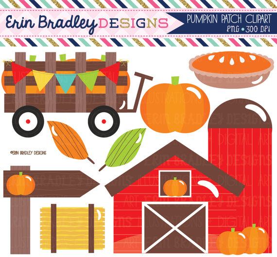 Pumpkin Patch Clipart Set Pumpkin Pie Farm Pumpkin Hay Wagon Wooden