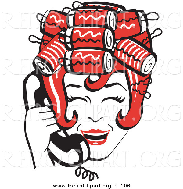 Retro Clipart Of A Red Haired Happy Housewife With Her Hair Up In