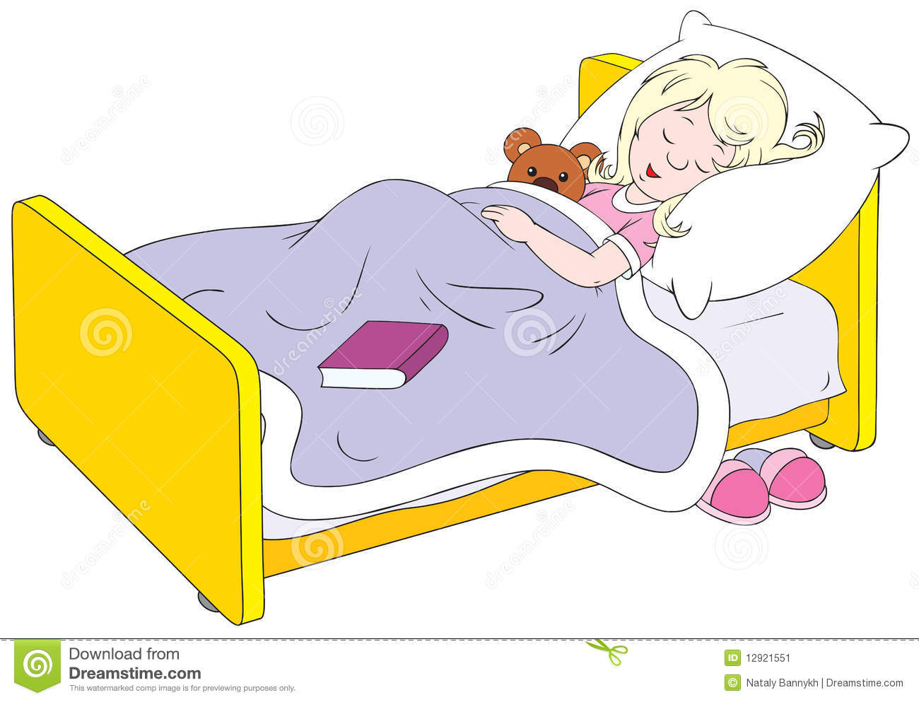 Small Girl With A Teddy Bear Sleeps In Her Bed