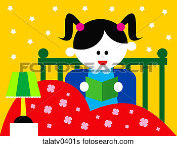 Stock Illustration   Girl Reading In Bed  Fotosearch   Search Clip Art