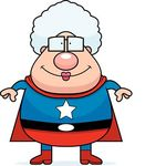 Superhero Grandma Smiling   A Happy Cartoon Superhero