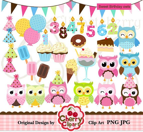 Sweet Birthday Owl Digital Clipart Set For  Personal And Commercial U