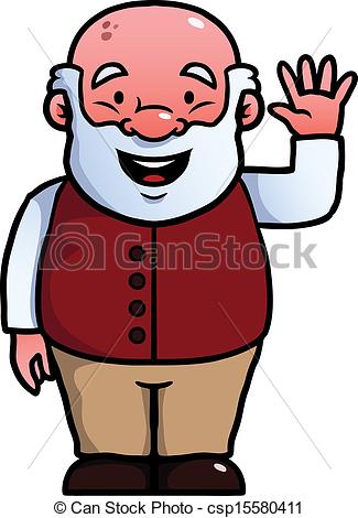 Vector Clip Art Of Old Man Waving At Camera   Old Man Waving Happily