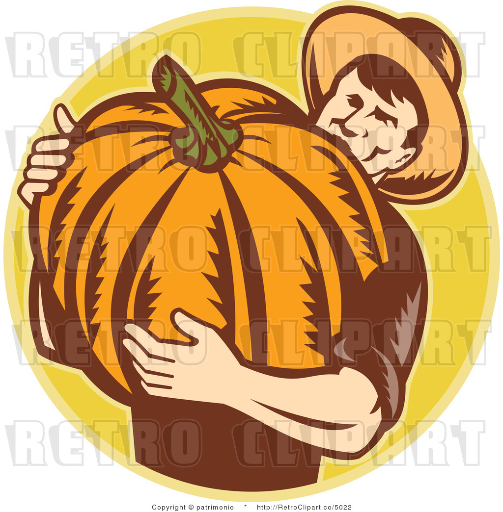 Vector Retro Clipart Of A Farmer Carrying A Big Pumpkin