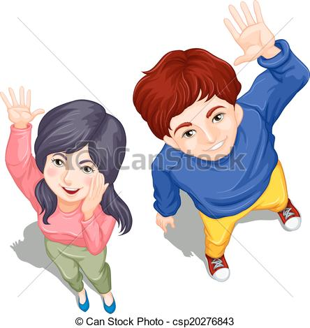 Vector   Topview Of Two People Waving   Stock Illustration Royalty
