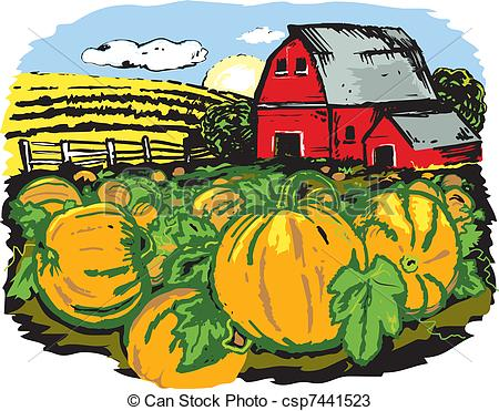 Vectors Of Pumpkin Farm   Scene With A Pumpkin Patch And Barn In The