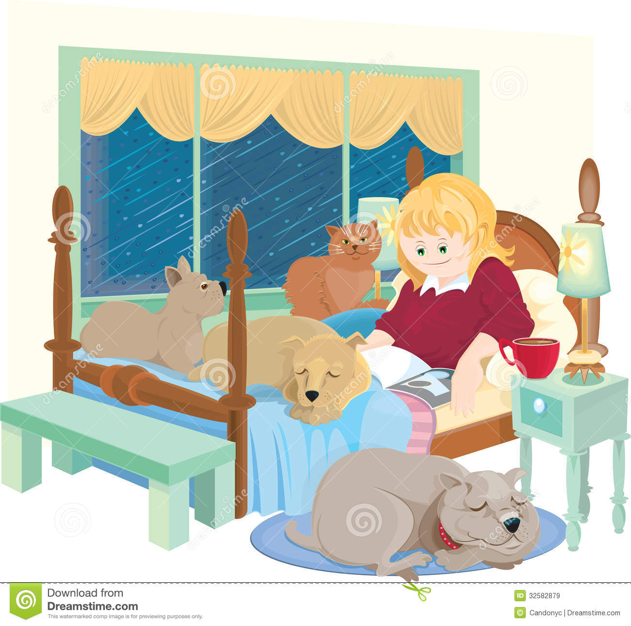 Woman In Bed With Her Pets Reading On A Stormy Day