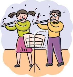 And Girl Playing Flutes In Music Class   Royalty Free Clipart Picture