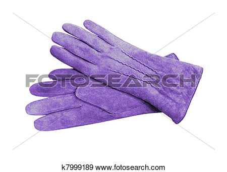 Beautiful Blue Suede  Leather  Women S Gloves Isolated On White View