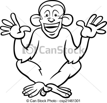 Black And White Cartoon Illustration Of Funny Chimpanzee Ape Primate