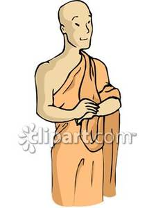 Buddhist Monk In A Robe Royalty Free Clipart Picture