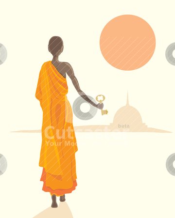 Buddhist Monk With Golden Key Stock Vector Clipart An Illustration Of