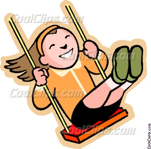Cartoon Kids On Swings Clip Art