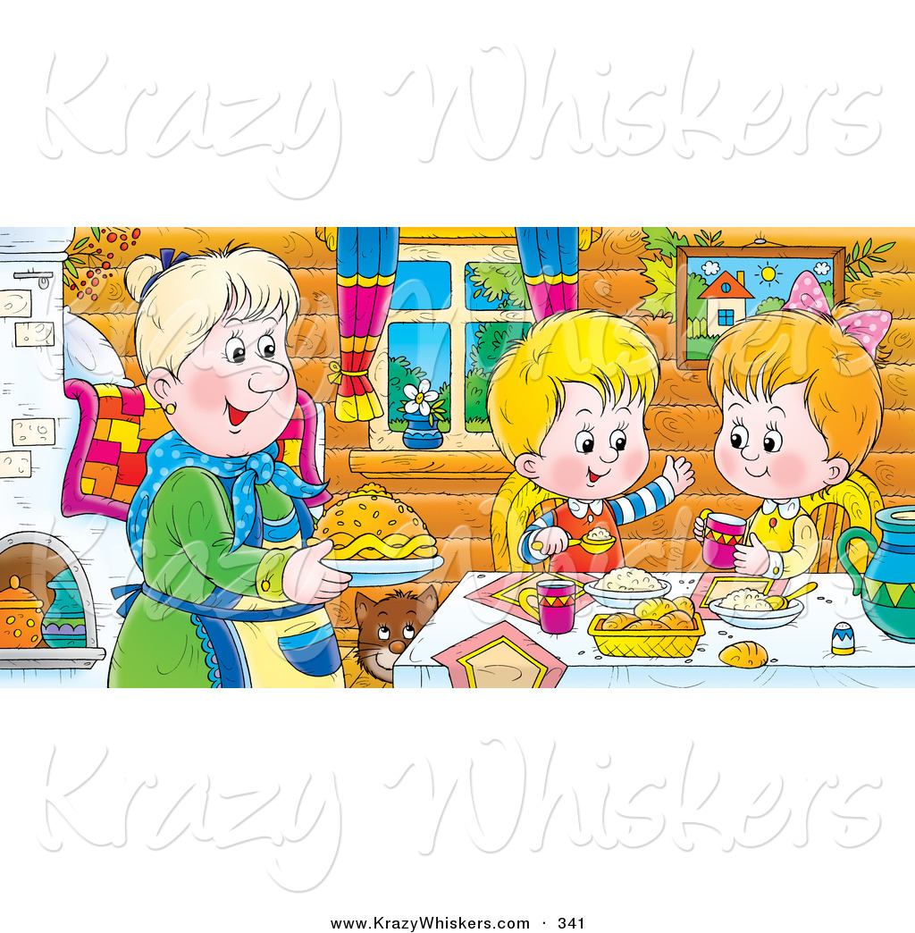 Clipart Of A Happy And Smiling Boy And Girl At A Table Eating Fresh