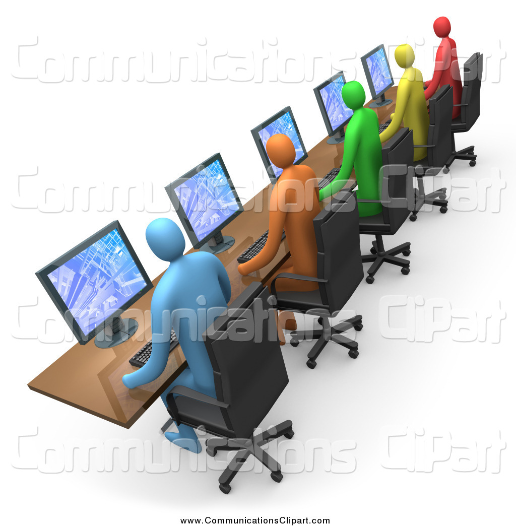 Communication Clipart Of A 3d Diverse People Working On Computers In