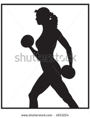 Female Weight Lifter Black   White   Stock Vector