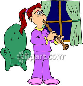 Girl Playing The Flute   Royalty Free Clipart Picture