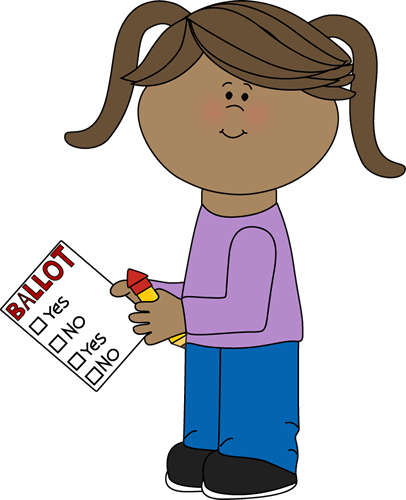 Girl With Voting Ballot Clip Art Image   Little Girl With Pigtails
