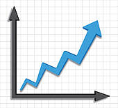 Growth Progress Blue Arrow Graph   Clipart Graphic