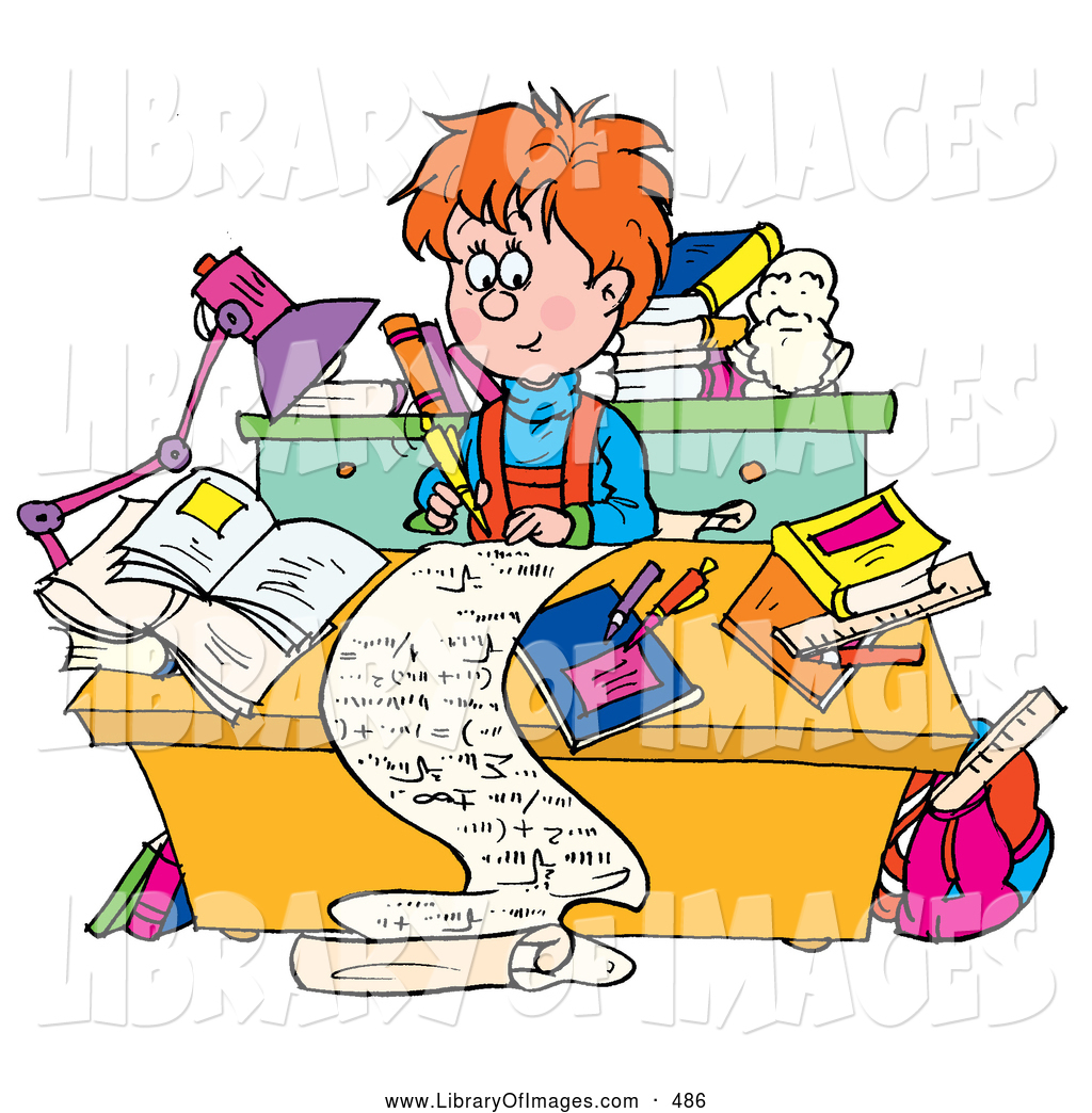 Larger Preview  Clip Art Of A Friendly Smart School Boy Writing A Long