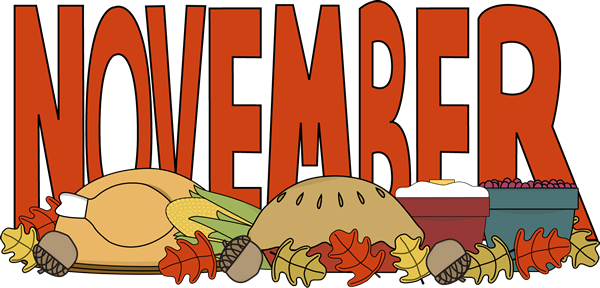 Month Of November Thanksgiving Food Clip Art   Month Of November