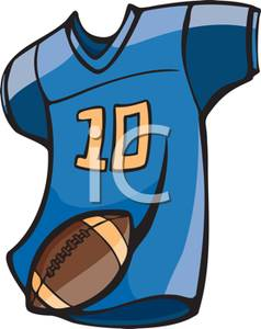 Number Ten Football Jersey And Football   Royalty Free Clipart Picture