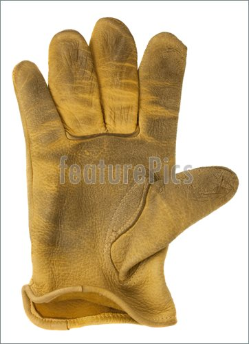 Of Worn Out Yellow Deer Leather Right Hand Glove Isolated On White
