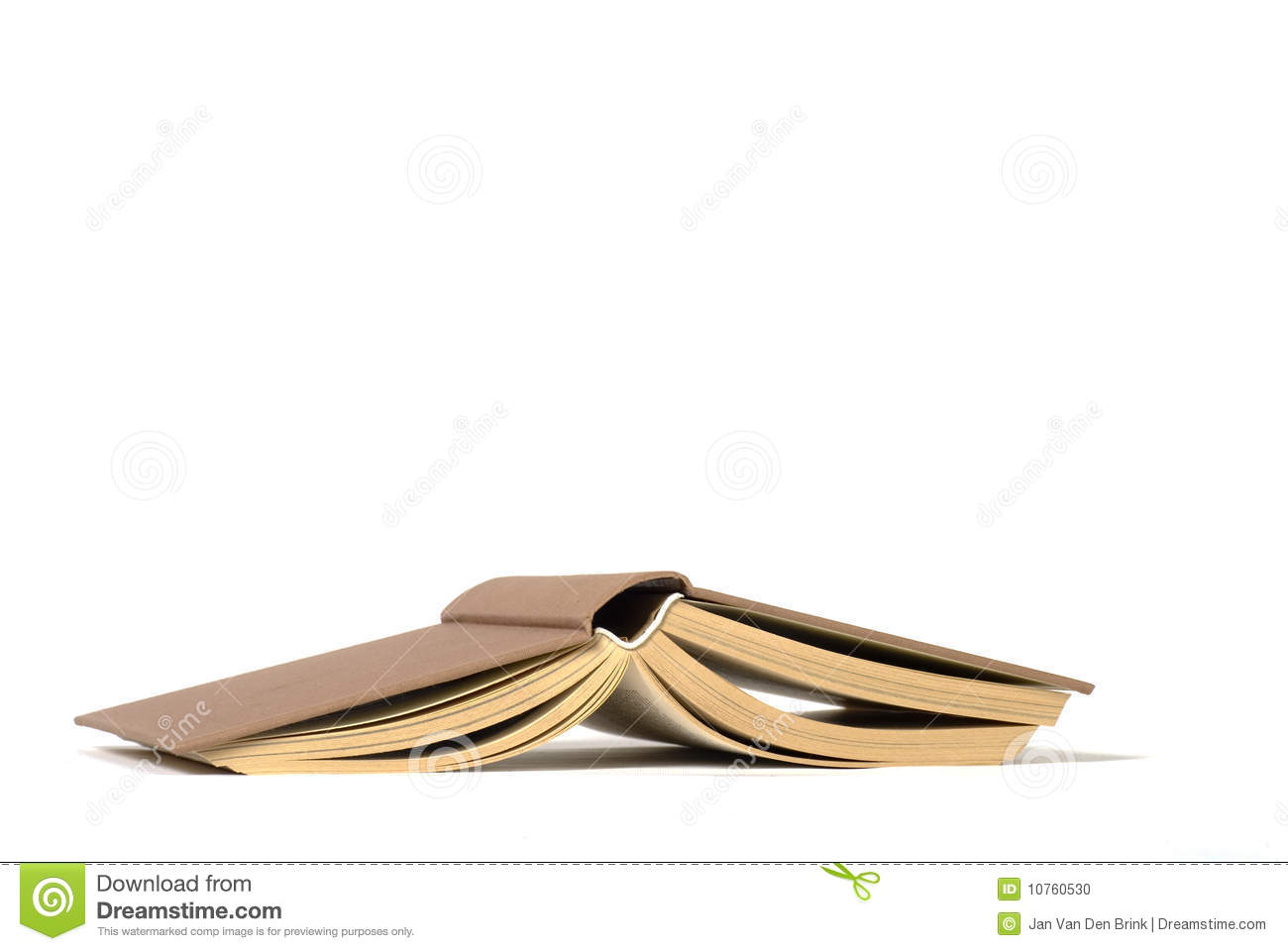 Open Book Upside Down On A White Background