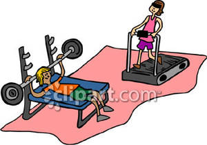 People Working Out In A Gym   Royalty Free Clipart Picture