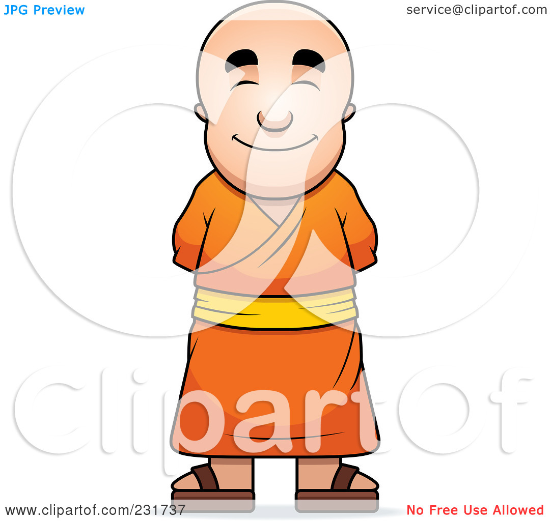 Rf  Clipart Illustration Of A Pleasant Buddhist Monk By Cory Thoman