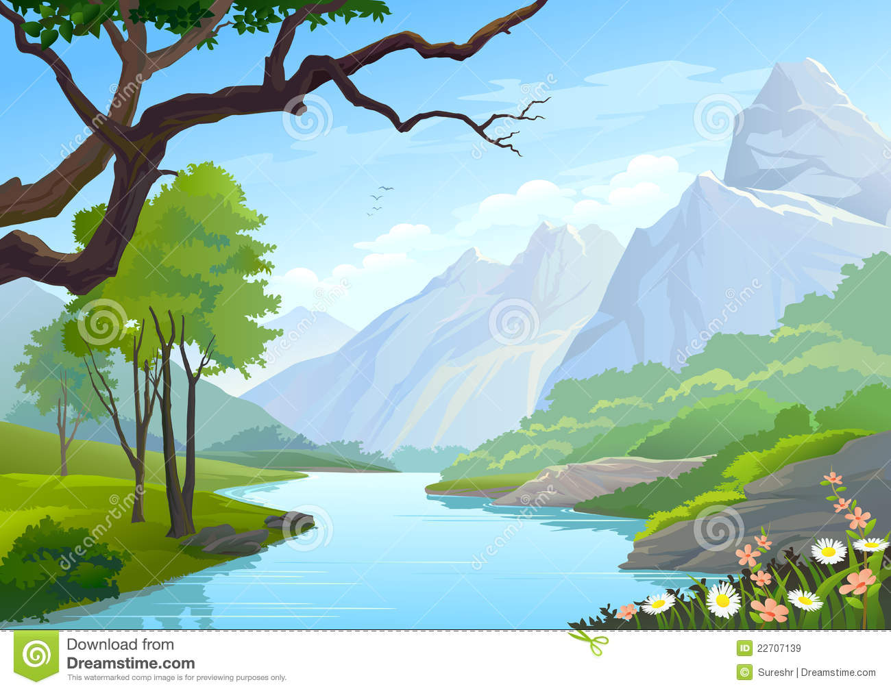 River Flowing Through Hills And Mountain Royalty Free Stock Images