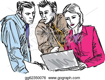 Sketch Of Successful Business People Working With Laptop At Office