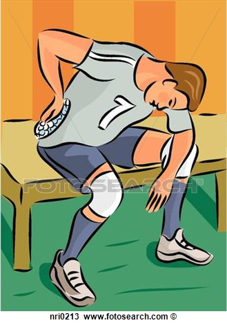 Sportsman Putting Ice Pack On Back Injury  Fotosearch   Search Clipart
