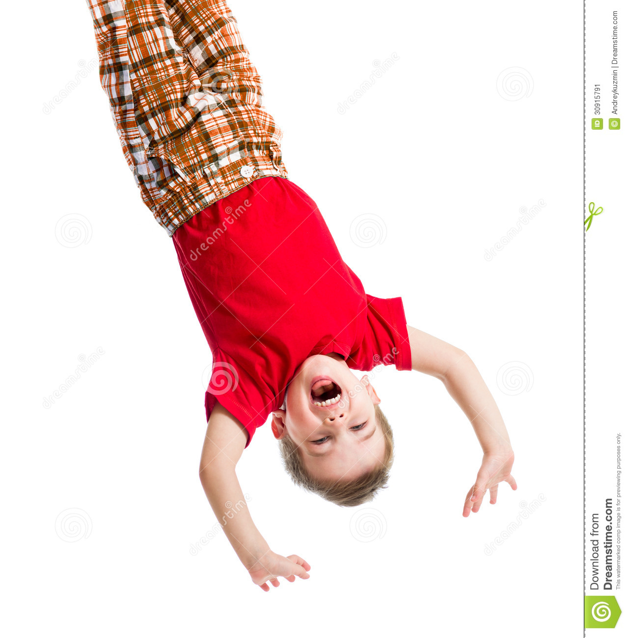 Stock Image  Kid Boy Upside Down Isolated