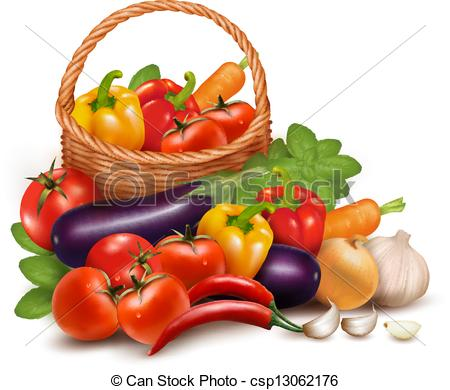 With Fresh Vegetables In Basket  Healthy Food  Vector Illustration