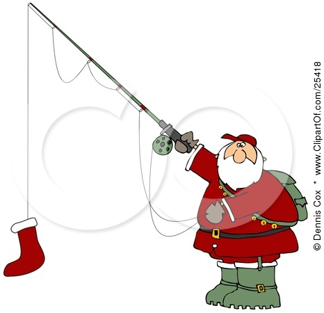 25418 Clipart Illustration Of Santa Holding A Red Christmas Stocking