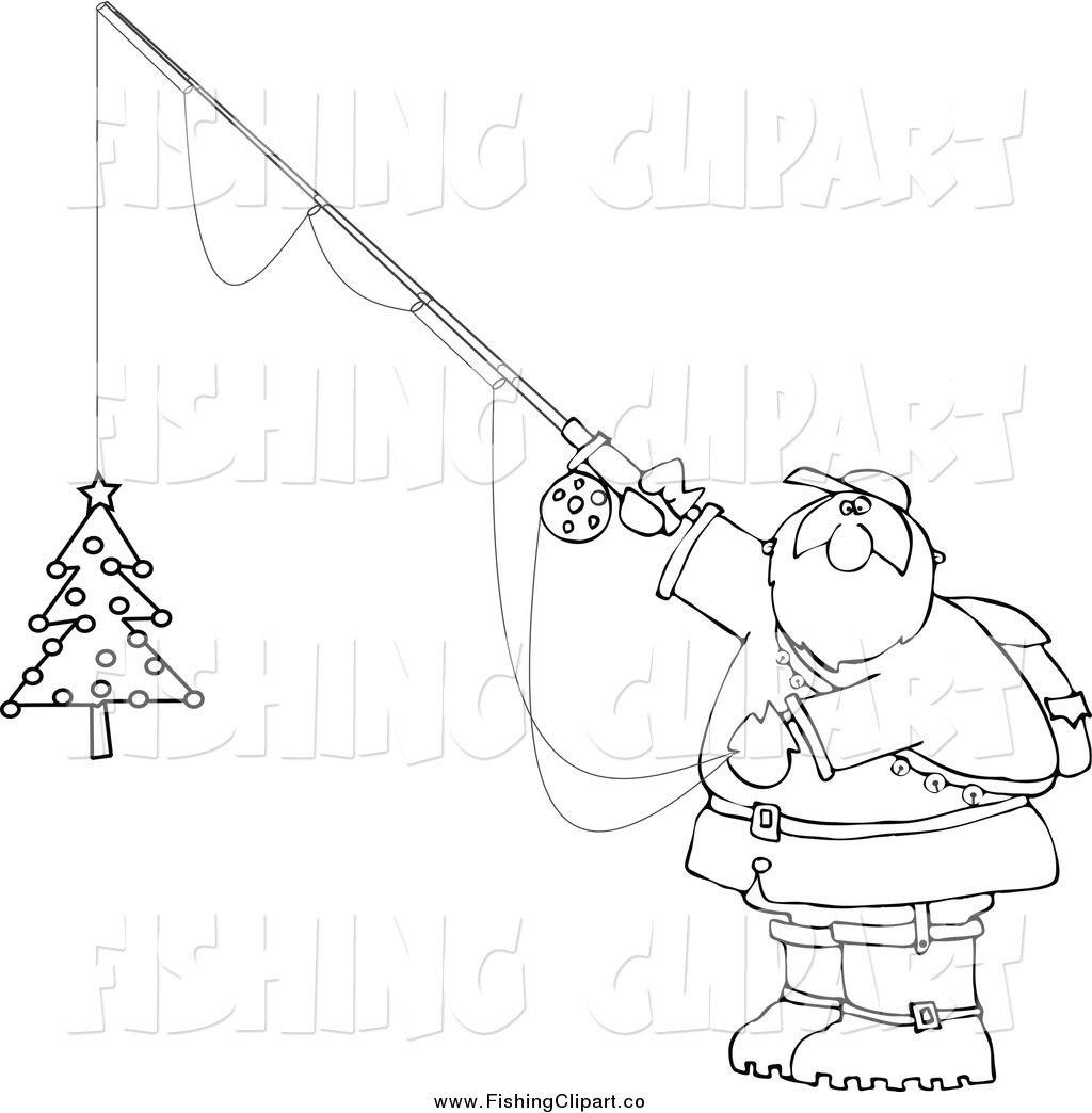 Chubby Santa Holding A Christmas Tree On A Fishing Hook By Dennis Cox