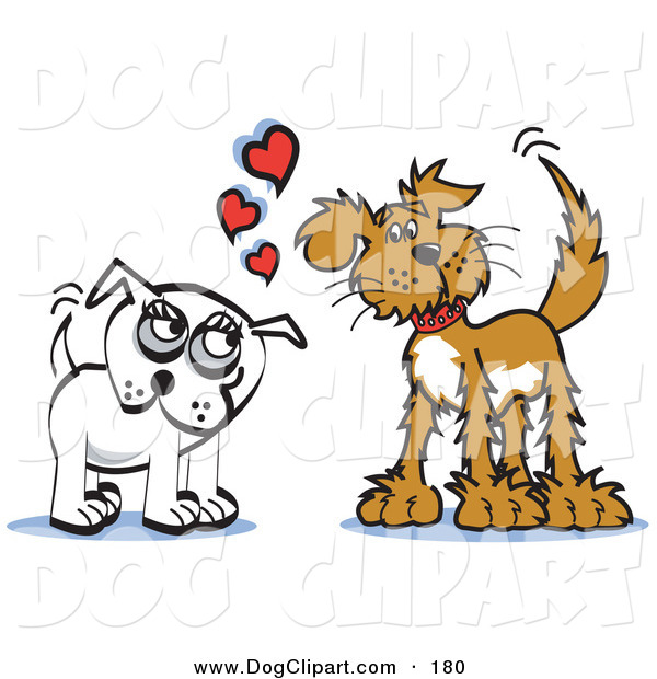 Clip Art Of A Couple Of Infatuated Dogs Staring At Eachother And