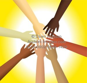 Clipart Illustration Of A Group Of Diverse Hands Reaching Out To Each