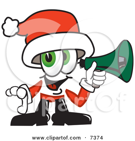 Clipart Picture Of A Santa Claus Mascot Cartoon Character Pointing