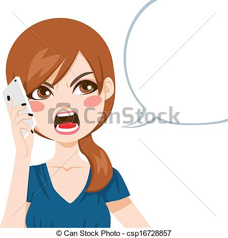 Clipart Vector Of Angry Phone Call   Young Woman Upset Screaming Angry