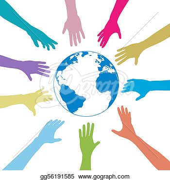 Eps Vector   Colors People Hands Reach Out Globe Earth  Stock Clipart