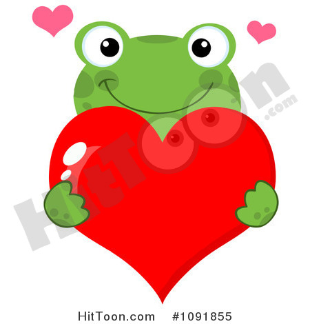 Frog Clipart  1091855  Green Frog Holding A Red Valentine Heart By Hit
