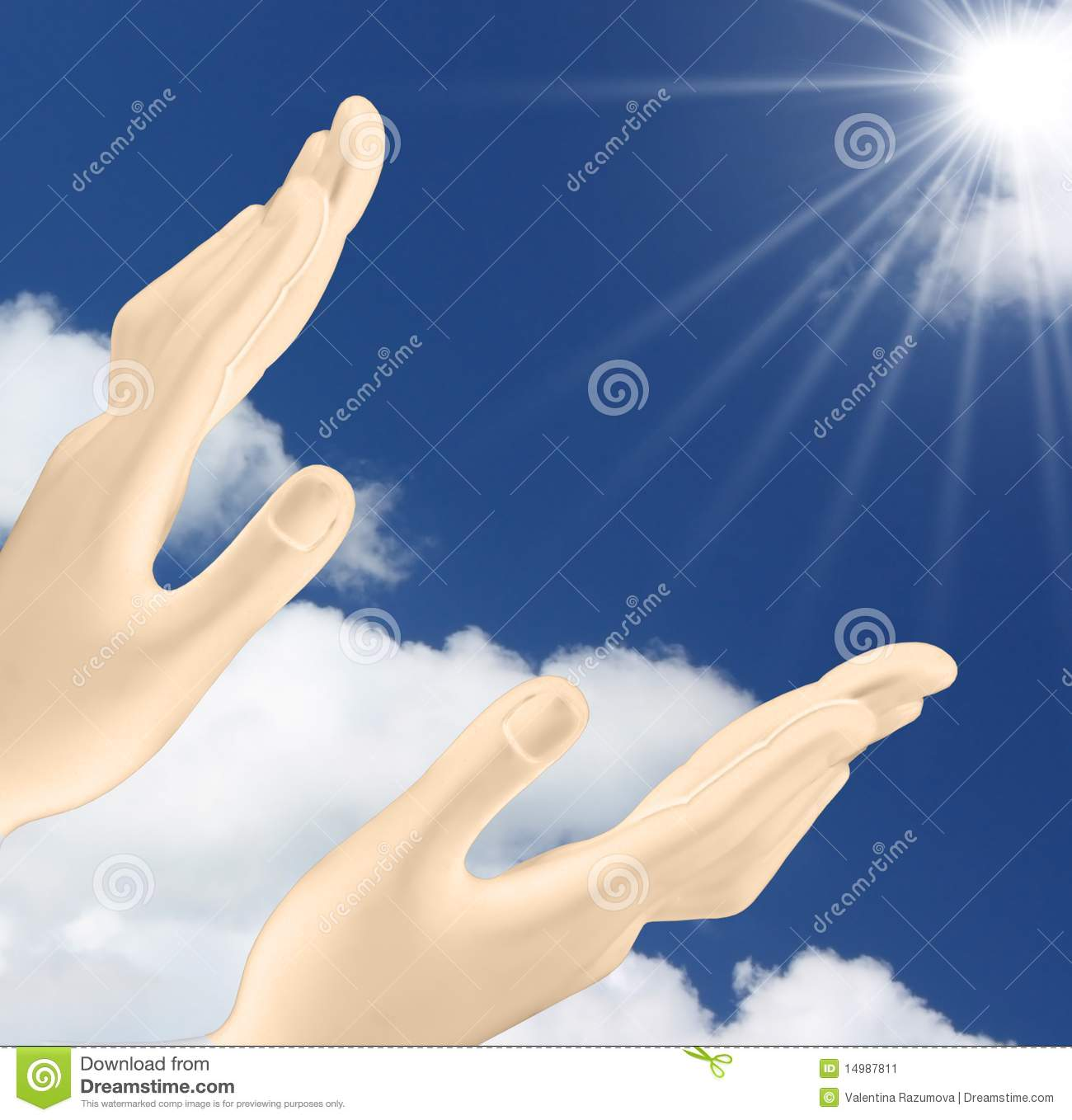 Hands Reaching Out The Sun Stock Image   Image  14987811