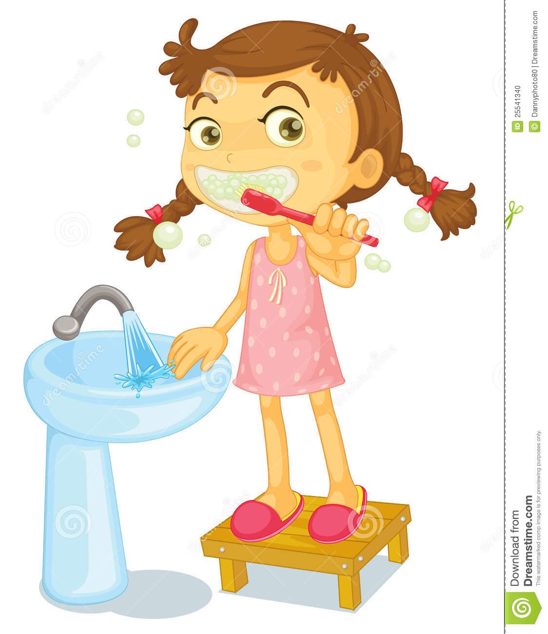 Girl Brushing Teeth Clip Art