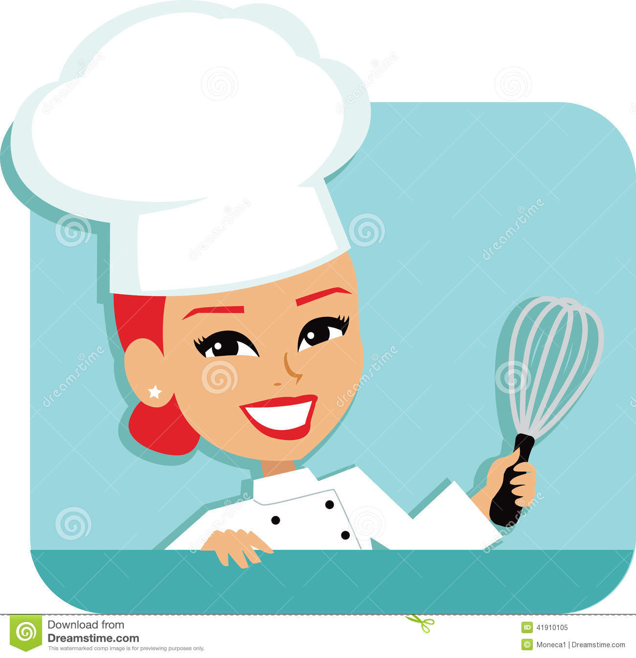 Illustration Of A Professional Redhead Cartoon Chef Girl Wearing A