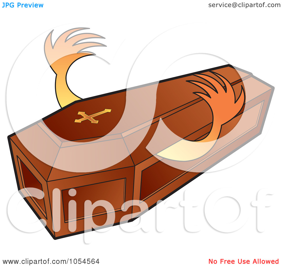 Illustration Of Hands Reaching Out From A Wooden Coffin By Lal Perera