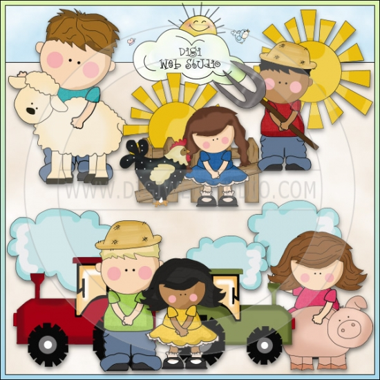 Kids On The Farm 1   Ne Cheryl Seslar Clip Art   Digi Web Studio Clip