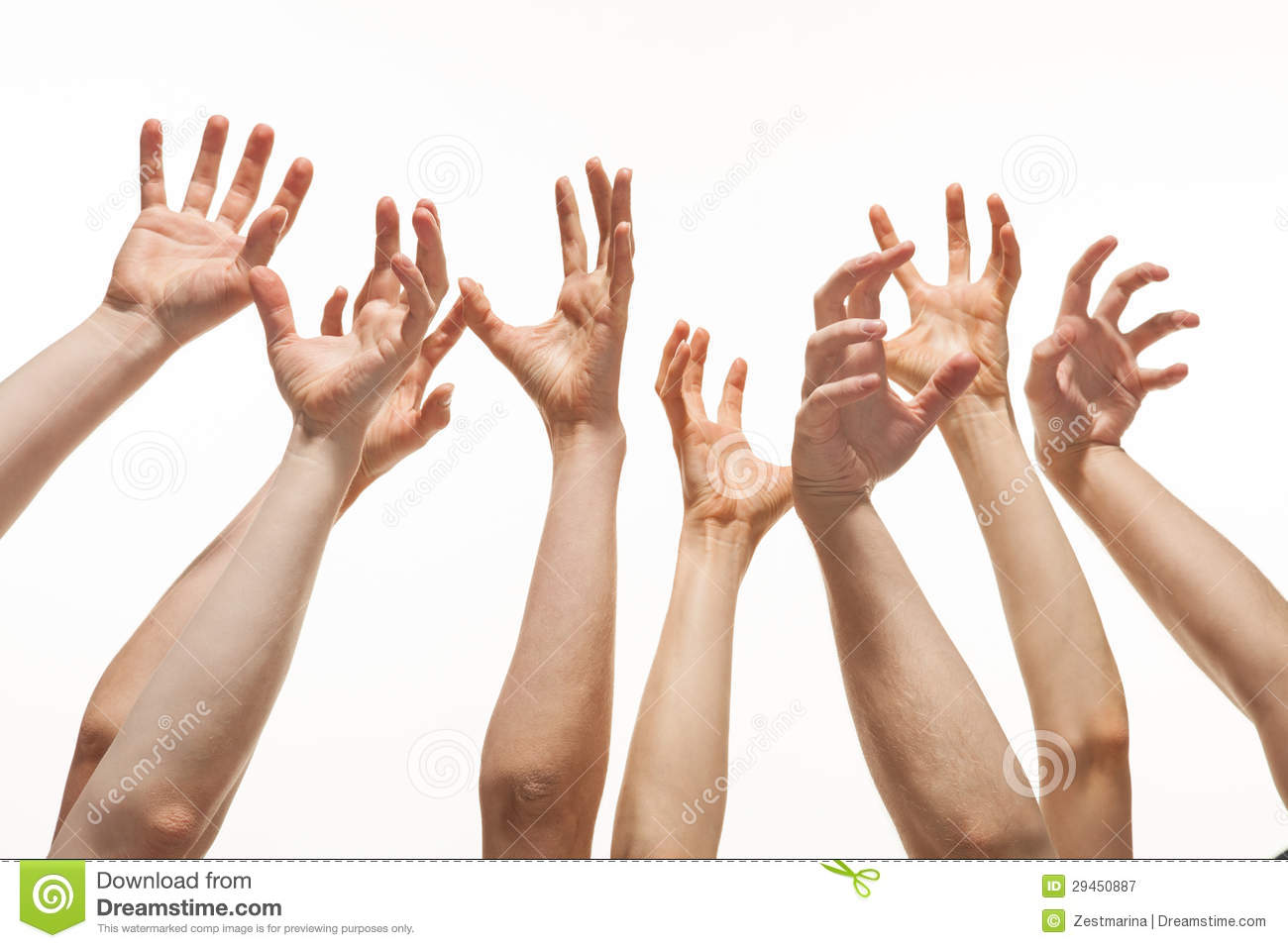 Many Hands Reaching Out Up Royalty Free Stock Photography   Image