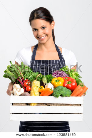 Portrait Of Happy Indian Woman Chef Holding A Crate Full Of Fresh